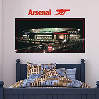 Official Arsenal Football Club - Emirates Stadium Outside View Mural + Gunners Wall Sticker Set Decal Vinyl Poster Print Mural (120cm Width x 60cm Height)
