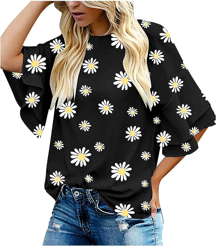 Women's Casual Tunic Tops 3/4 Ruffle Bell Sleeve Creweck Floral Daisy Graphic Fashion Chiffon Tshirts Blouse Tee Shirts