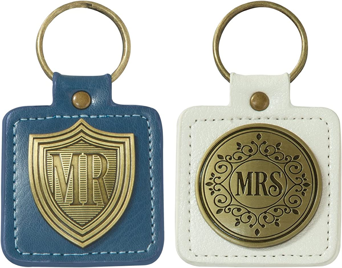 Blue/White Faux Leather Scripture Keychain Set for Bride and Groom | Mr./Mrs. Greatest of These is Love 1 Corinthians 13:13 Bible Verse | Set/2 His and Hers Keychains w/Metal Emblems