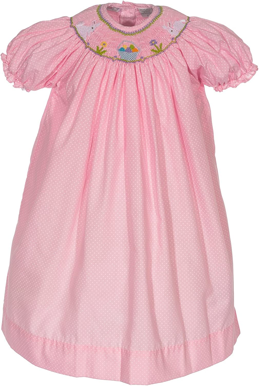 Girls Dress Trust Pink Hand sold out Smocked Easter Eggs with Bunnies Colorful