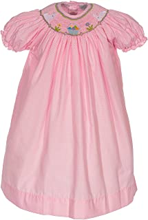 Girls Dress Pink Hand Smocked Easter Bunnies with Colorful Eggs