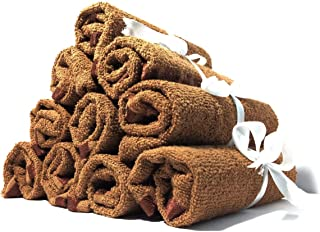 Dollar 100% Cotton Soft Towel Set of 10 Pieces, 350 GSM for Women and Girls - 10 Face Towels (Colour- Brown)