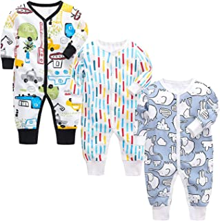 OPAWO Newborn Baby Boy Girl Footless Pajamas 3-Pack Cotton One-Piece Coveralls Jumpsuits Sleeper Romper