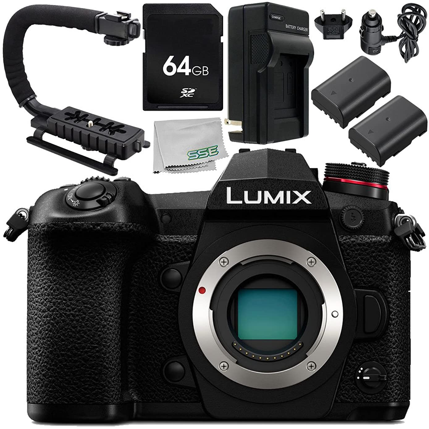 Panasonic Lumix DC-G9 Mirrorless Micro Four Thirds Digital Camera (Body Only) 7PC Accessory Kit– Includes 64GB SD Memory Card + 2X Replacement Batteries + More - International Version (No Warranty)