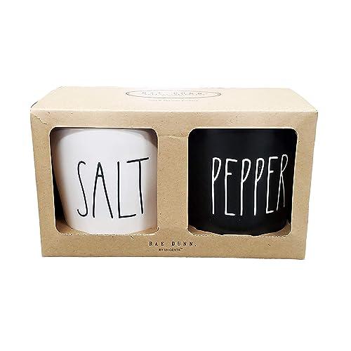 Rae Dunn By Magenta 2 Piece SALT/PEPPER Ceramic LL Salt & Pepper Cellar