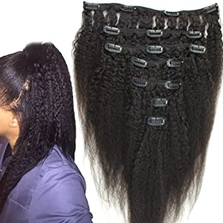 12inch Virgin Peruvian Coarse Yaky Clip In Human Hair Extensions Afro Kinky Straight Clip On Hair Extension Long Hai Italian Yaki Weave 120gram 7pcs