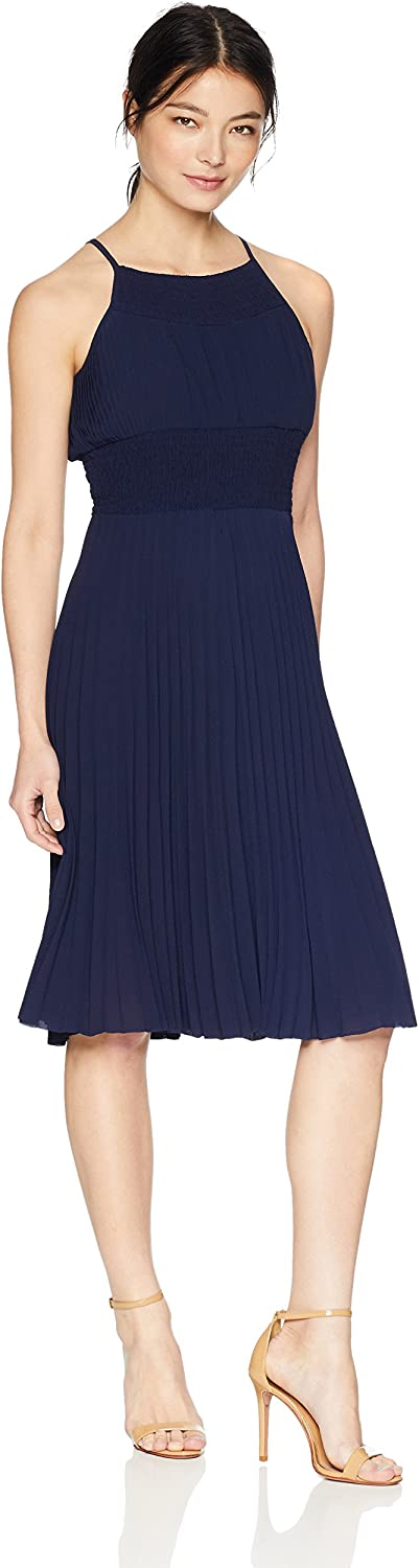 Maggy London Womens Petite Crepe Smocked Pleated Sun Dress Cocktail Dress
