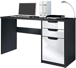 Vladon Bureau Table Informatique Logan, Corps en Noir Mat/Façades en Blanc Haute Brillance