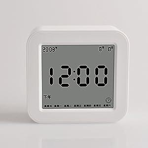 Shuangklei Dortoir D'apprentissage Modernes De Réveil Horloge Renouvelable Square Enfant Chevet Réveil,White