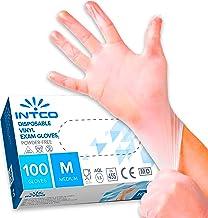100 guanti in vinile M senza polvere, senza lattice, ipoallergenici, certificati CE trasparenti conforme alla norma EN455 ...