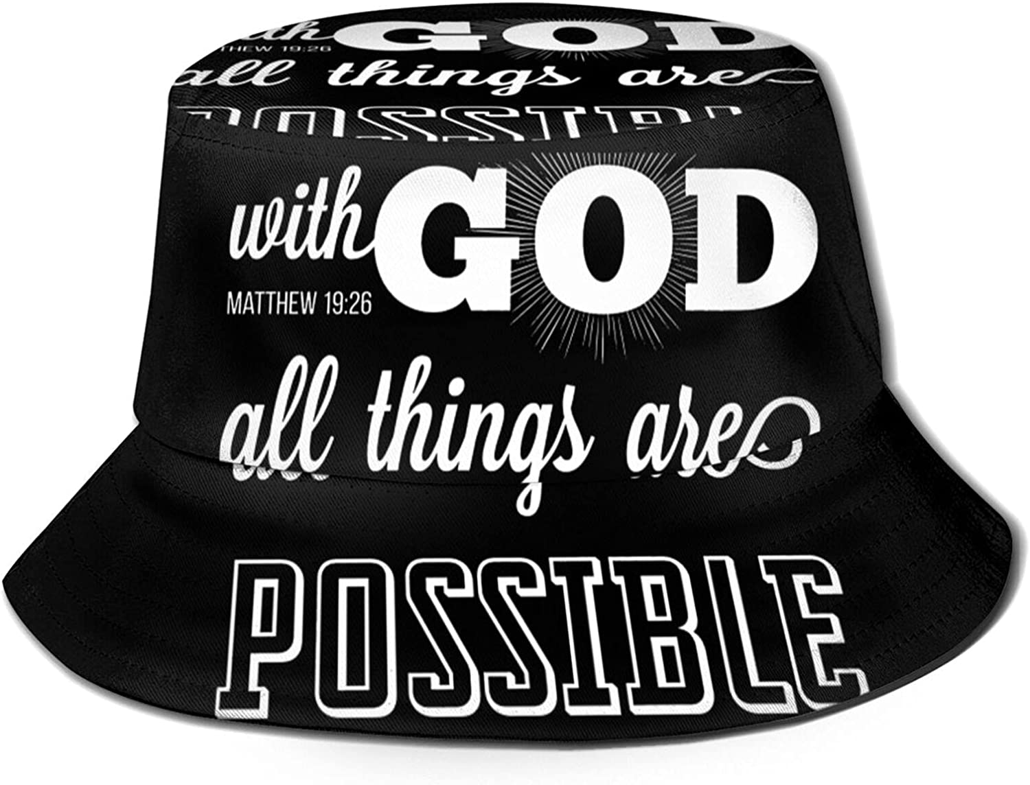 with God All Things are Possible Sun Unisex Hat Summe Kansas City Sacramento Mall Mall Bucket