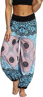 Lu's Chic Women's Bohemian Yoga Pants High Waist Loose Palazzo Hippie Pant Thai Comfy Boho Harem Pants Style1 Large