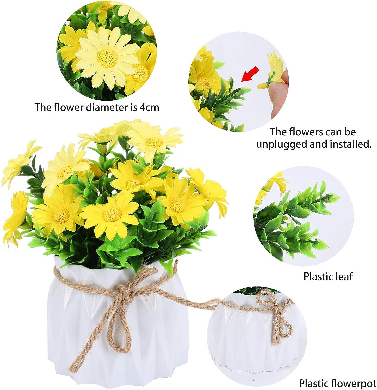DWANCE 1PCS Flores Artificiales con Maceta Margarita Artificial Flores Amarillo Flores Falsas para Hogar Oficina Decoraci/ón Jard/ín Ba/ño Cocina Balc/ón