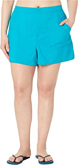 Plus Size Solids Woven Boardshorts