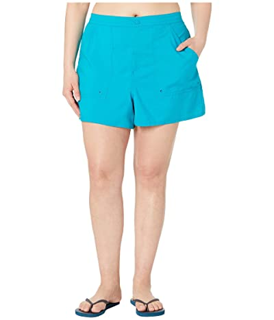 Maxine of Hollywood Swimwear Plus Size Solids Woven Boardshorts (Emerald) Women