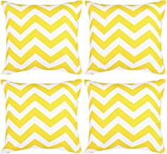 Aneco Pack of 4 Yellow Waterproof Pillow Covers Outdoor Throw Pillowcases Garden Chair Cushion Case for Home, Garden, Pati...