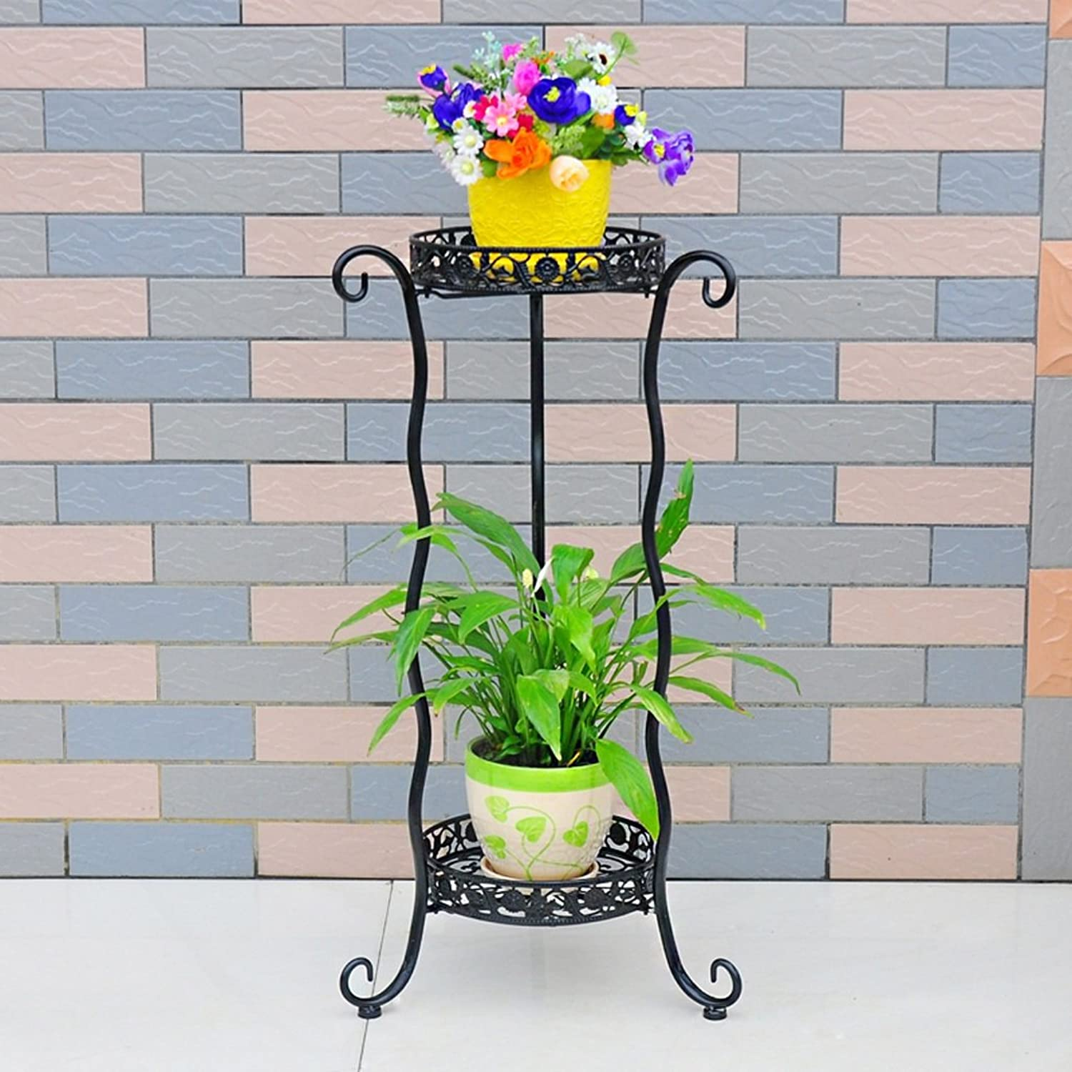 Wrought Iron Flower Landing Multi-Layer Pot Rack Indoor and Outdoor European Green Flower Stand Living Room Balcony Flower Stand (color   Black)
