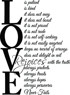 Crystal Emotion Love is Patient Love is Kind Corinthians Vinyl Wall Decal Decor Quotes Sayings Inspirational Wall Art
