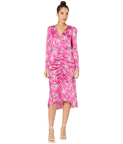 WAYF Rachel Ruched Midi Dress (Magenta Bouquet) Women