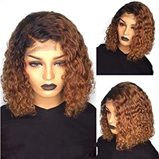 Jiduoyi Wig 1B/27 Ombre Color Curly Human Hair Wig 13x6 Lace Front for Black Women Pre Plucked Brazilian Remy Hair with Baby Hair Natural Hairline Wigs 150 Density