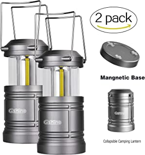 Gshine Camping Lantern, LED Lantern Lights with Magnetic Base 2 Pack Portable Camping Gear Collapsible COB Water Resistant Survival Kit for Emergency Hurricane