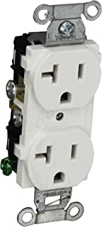 Hubbell CR20WHI Duplex Receptacle, Common Ground, 20 amp, 125V, 5-20R, White (Pack of 10)