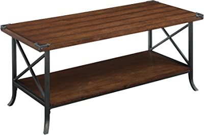 Convenience Concepts Brookline Coffee Table, Dark Walnut / Slate Gray Frame