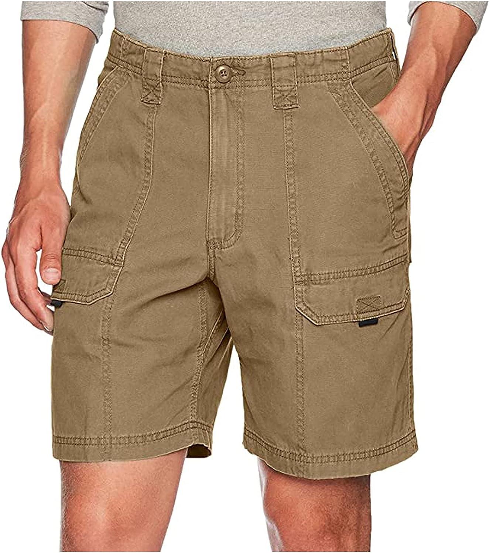 ZCAITIANYA Men's Solid Color Overalls Cargo Shorts Summer Slim Fit Casual Cotton Elastic Waist Multi Pocket Zipper Outdoor