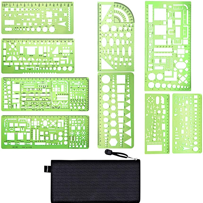 Kasmena 9 Pcs Plastic Geometric Drawings Stencils Measuring Templates Geometric Rulers for Office and School,Planner Painting Drawing,Clear Green