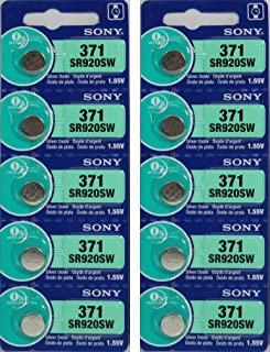 10 Sony Watch Battery Button Cell SR920SW 371 (2 Packs of 5) Batteries