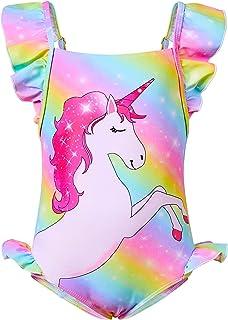 MHJY Girls Swimsuits One Piece Unicorn Swimwear Bathing Suit Adjustable Straps Beachwear