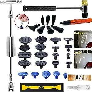 Manelord Auto Body Dent Puller Dent Repair kit with Slide Hammer bar Dent Puller for Car Body Hail Dent Removal Paintless Dent repair Automobile Body Repair