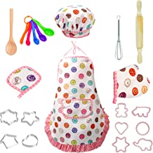 22 Pcs Kids Chef Role Play Costume Set, Toddler Cooking Apron Set, Apron and Chef Hat for Dress Up Chef Costume Career Rol...