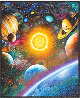 BLAST OFF ROCKETS SPACE STARS PLANETS BOYS cotton fabric METRE OR BUNDLE