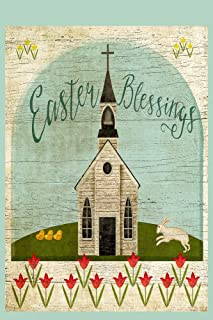 Easter Blessings Primitve Christian Church with Tulips Decorative House Flag, Double Sided, 28