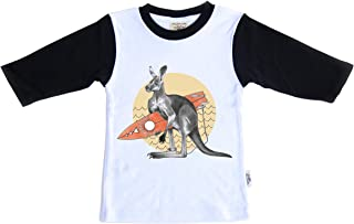 Dusty Road Apparel Organic Cotton Children's Tshirt Red Kangaroo Design, Two Toned Black Long Sleeve T Shirt Made in Australia