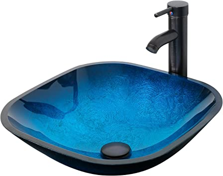 Eclife 16 5 Ocean Blue Square Bathroom Sink Artistic Tempered Glass Vessel Sink Combo With Oil Rubber Bronze Faucet And Pop Up Drain Bathroom Bowl A04 Square Ocean Blue Amazon Com