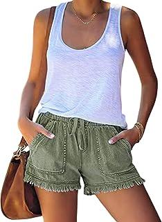 DELIMALI Women's High Waist Denim Shorts, Ripped Raw Hem Shorts Hole Hot Roll-Up Bermuda Shorts