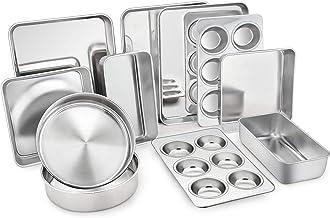 TeamFar Stainless Steel Bakeware Set of 11, Toaster Oven Baking Pan Set, Lasagna Pan, Square & Round Cake Pan, Loaf Pan & ...