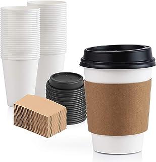 [50 قطعة] اكواب قهوة ورقية بلون ابيض للاستعمال مرة واحدة بسعة 12 اونصة بغطاء اسود وغلاف اسطواني كرافت كومبو، مقاس صغير وطويل