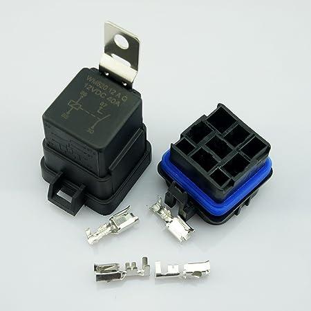 SDENSHI 3 St/ück Kfz Relaissockel 40A 5PIN Stecker Mit 5 Dr/ähten