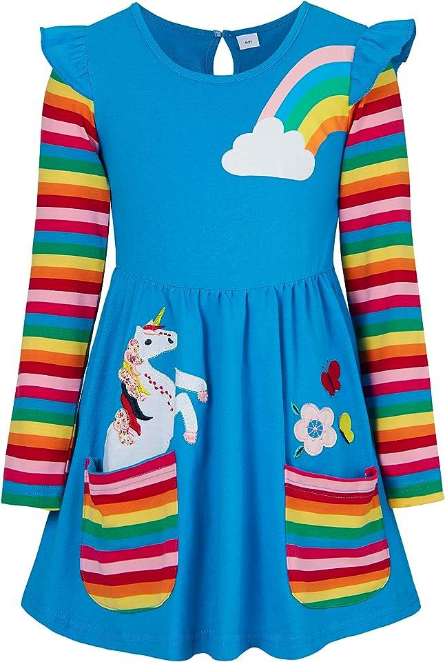 Little Girls Dress Rainbow Long Sleeve Cotton T-Shirt Dresses Pocket Jersey Dress for Kids Autumn Flower Stripe Dress with Unicorn Print 3-8 Years