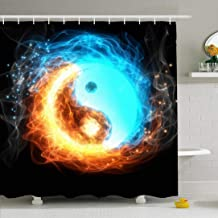 Ahawoso Shower Curtain Set with Hooks 66x72 Yinyang Meditation Red Symbol Karma Yoga Ice Fire Opposite Yang Flame Blue Signs Zen Symbols Mind Waterproof Polyester Fabric Bath Decor for Bathroom
