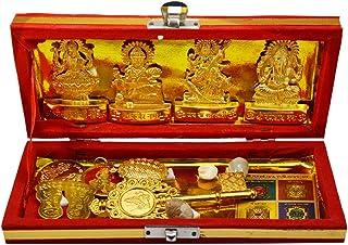 Amazing India Metal Brass Sri Dhan Laxmi -Kuber Bhandari Yantra (Gold_1.5 Inch X 2.3 Inch X 1.1 Inch)