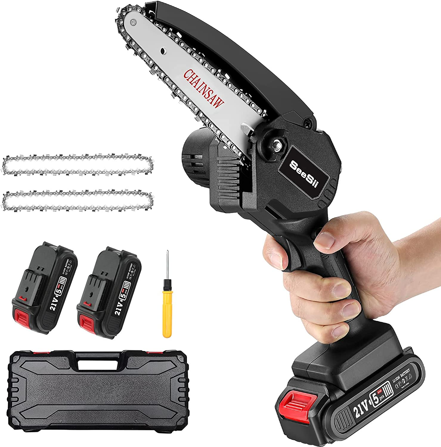 Mini ChainSaw Cordless Seesii 6-inch Chain 2.0 2x shop Online limited product Saw with