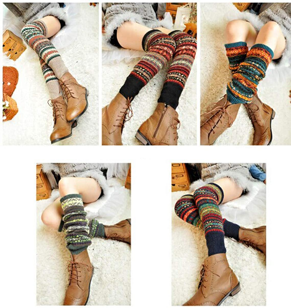 Lucky staryuan Women Set of 3 Wool Knit Leg Warmer Boot Warmer