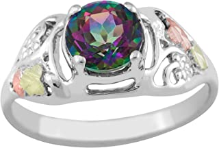 Mystic Fire Topaz Ring, Sterling Silver, 12k Green and Rose Gold Black Hills Gold Motif