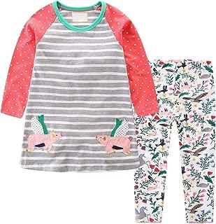 Little Girls' Casual Clothing Set T-Shirt Leggings Babys Cartoon Sports Suit Fit 2-7years Kids