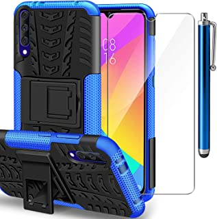 AROYI Funda Xiaomi Mi A3 + Protector de Pantalla, Mi A3 2 en 1 Duro PC Funda y Soft TPU Cáscara de Cubierta Protectora de Doble Funda Caso para Xiaomi Mi A3 + Azul