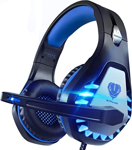 Pacrate Casque de Jeu stéréo pour PS4, Xbox One, PC avec Microphone antibruit - Son Surround - Mémoire Douce sur l'or...